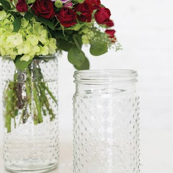 "Glass Hobnail Jar in Clear7.5"" Tall x 3.5"" Wide with 3"" Opening"