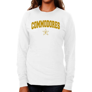 Vanderbilt Commodores Ladies Logo Arch Long Sleeve Slim Fit T-Shirt - White