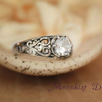 Sterling Silver White Sapphire Filigree Engagement Ring - Choose Your Stone - Unique Engagement Ring, Promise Ring, Gemstone Ring