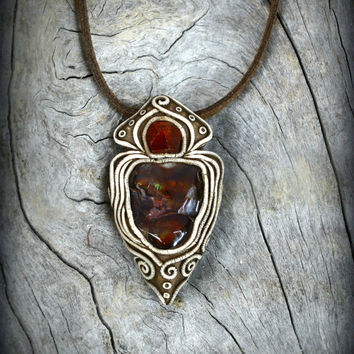 Fire Agate arrowhead gemstone pendant clay wearable art red Garnet crystal bohemian unisex gypsy style men jewelry rock warrior necklace