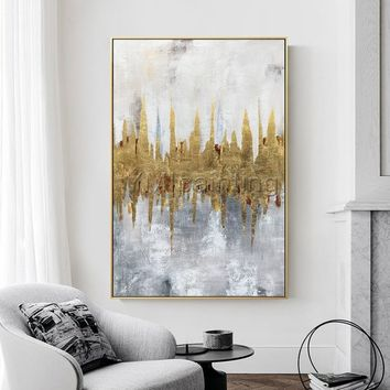 Gold Leaf Acrylic Paintings On Canvas original  modern Abstract extra Large abstract wall art paintings quadro home decor cuadros abstractos