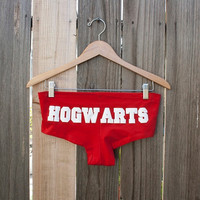 HOGWARTS Panties/Booty Shorts/Underwear - Harry Potter - White on Red - Made to Order- Choose Size