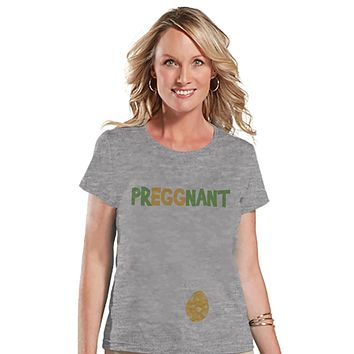 Womens Easter Shirt - PrEGGnant - Spring Pregnancy Reveal - New Baby Announcement - Easter Baby Reveal - Pregnancy Reveal - Grey T-shirt