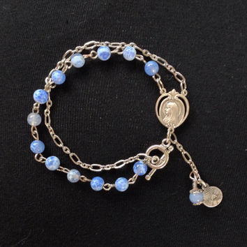 Handmade Silver Vintage Rosary Bracelet with Blue Fire Agate Crackle beads