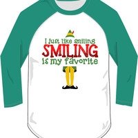 I Just Like Smiling Smiling is my Favorite Raglan Christmas Party shirt tee Funny t-shirt DT-648