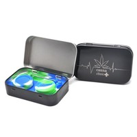 1set 4 in 1 Silicone Dab Container Non-stick Bho Wax Containers for Dabs Butane Hash Oils Box with Logo Pattern