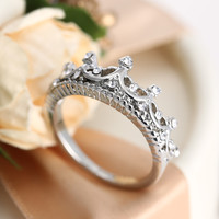 Silver Crown Ring Princess Diamond Jewellry