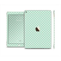 The Light Green with White Polkadots Skin Set for the Apple iPad Air 2
