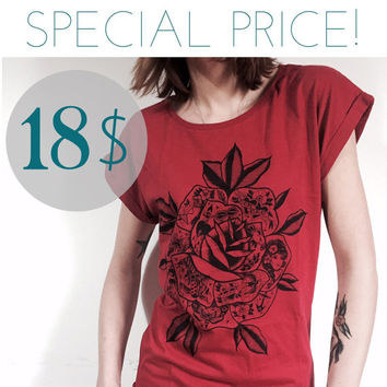 SPECIAL PRICE! Ladies t shirt with tattooed rose print. screen print on 100% cotton tee , handmade design. t-shirt for her