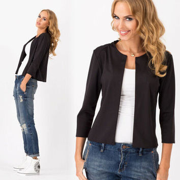 Women's Fashion Simple Design Blazer Three-quarter Sleeve Slim Jacket [6338852097]