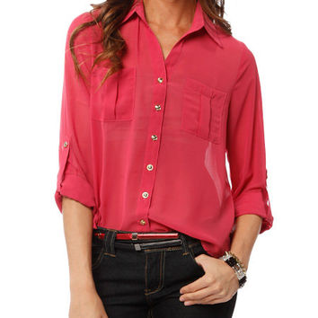 Papaya Clothing Online :: TWO POCKETS GOLD BUTTON DOWN BLOUSE