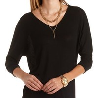 Ribbed Sweater Knit Dolman Tee by Charlotte Russe