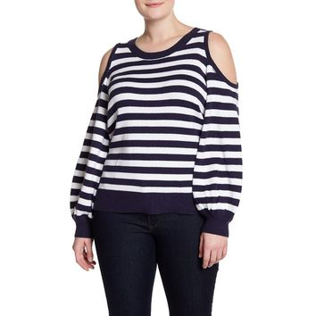 Michael Kors Women's Stripe Cold Shoulder Sweater (Plus  Size)