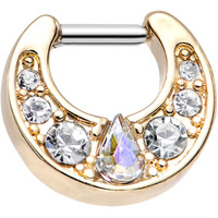 14 Gauge Gold Plated Clear Teardrop Aurora Gem Septum Clicker | Body Candy Body Jewelry