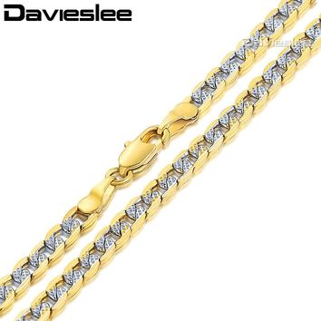 Davieslee Mens Womens Necklace Rose Gold Filled Chain Curb Cuban Silver Gold Hip Hop Jewelry 4/6mm LGN64