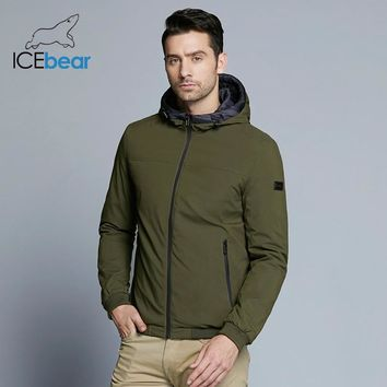 ICEbear new men's windproof thermal jacket spring casual man cotton padded classic color matching fashion jacket MWC18011D
