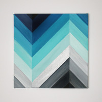 """12"""" x 12"""" Ombre Chevron Acrylic Painting in Blue's and Gray's"""