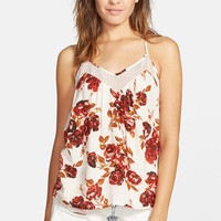 Junior Women's Volcom 'Defiant One' Floral Print Tank,