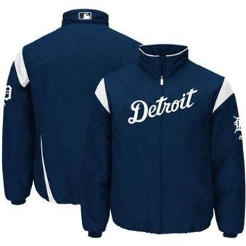 MLB Detroit Tigers Big & Tall On-Field Therma Base Thermal Full-Zip Jacket - Navy