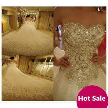 100% Real Picture Crystal Wedding Dresses 2017 Hand-Beading Long Bridal Gowns Sweetheart Sleeveless Backless Lace-Up Bridal Gown