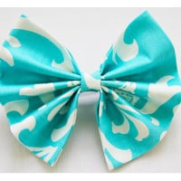 Large Hair Bow in Turquoise & White w French Barrette 6x5