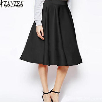2016 Summer ZANZEA Womens Skirts Elegant Solid High Wasit Slim Chiffon Pleated A-line Knee-length Skirt Female Skirts Plus Size