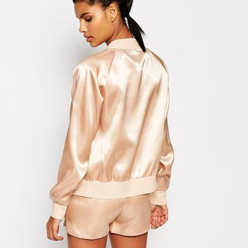 Story Of Lola Silky Bomber Jacket at asos.com