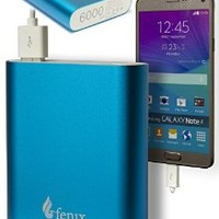 Fenix 6000 mAh Portable Charger External Battery Power Bank for iPhone 6 Plus 5S 5C 5 4S, iPad Air 2 Mini 3, Samsung Galaxy S6 S5 S4 Note Tab, Nexus, HTC, Motorola, Nokia, PS Vita, Gopro, more Phones and Tablets and More (Sky Blue)