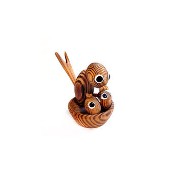 Baby / Mama Birds / Nest, Carved Wood