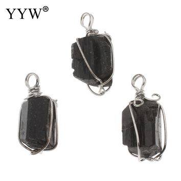 New Dipped Black Tourmaline Pendant Necklace Raw Stone Schorl Chakra Healing Crystal Point Pendant Colar 15.5x34.5x14.5mm