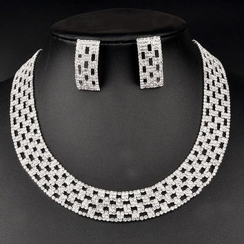 Silver Cut Out Squared Rhinestoned Necklace and Earrings