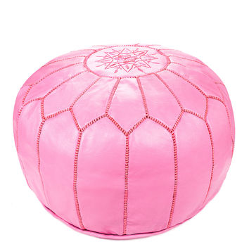 Moroccan Leather Ottoman Pouf, Pink