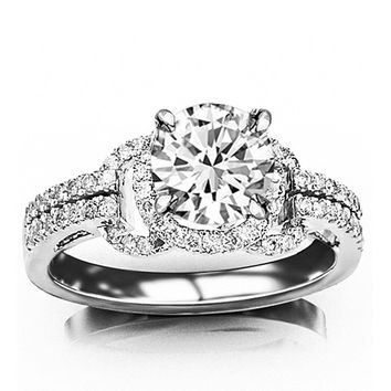 GIA CERTIFIED | 1.5 CTW Halo Style Love Knot Pave Set Round Round Diamond Engagment Ring w/ 1.03 Ct Round Cut D Color VS2 Clarity Center (Platinum, Yellow, White, Rose)