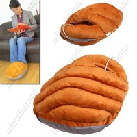 USB Powered Feet Warmer Cushion Shoes with Removable Cable for Cold Winters - Bread Style from UltraBarato Gadgets