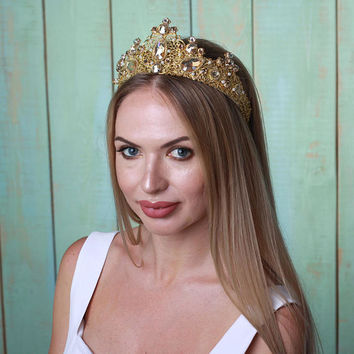Gold Champagne Crown, Gold Bridal Freshwater Pearl Hair Vine. Flower Crystal Elegant Headpiece.Gold Wedding Wreath Headband Tiara Crown