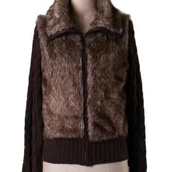 Dakota Faux Fur Zip Up Sweater - Brown