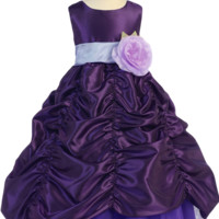 Purple Taffeta Blossom Flower Girl Gown with Shirred Pick up Skirt (Girls 2T - Size 12)