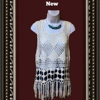 POL macrame fringe top- adorable multiple sizes