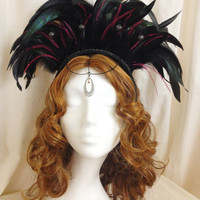 American tribal style black feather headdress