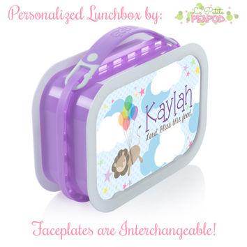Lion Lunchbox - Personalized Lunchbox with Interchangeable Faceplates - Double-Sided Flyin' Lion Lunchbox