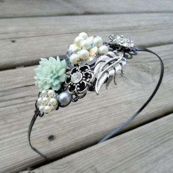 Mint Green Flower Vintage Inspired Metal Headband, Adult Womens Head Band, Vintage Inspired Hair Accessory, Fancy Headband