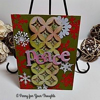 Peace Handmade Christmas Card . Just Listed. Ready to Ship.