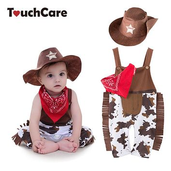 Baby Boy Romper Costume Infant Cowboy Clothing Set Newborn Hat Bib Romper Suit Boys Jumpsuit Pajamas Baby Outfits