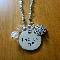 "Disney's ""Frozen"" Inspired Elsa ""Let It Go"" Necklace, Charm Pendant. Silver colored, crystal, for women or girls."