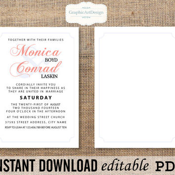 Wedding Invitation Printable Editable PDF - EDITABLE (Fonts, Colors, Size) Text That You Personalize with Adobe Reader - Instant Download