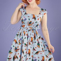 50s Love Birds Swing Dress in Light Blue