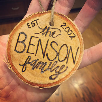 Birch Slice Ornament for Family // First Christmas // Newlyweds // Gift // Holiday Decor // Christmas Tree Ornament // Hand Burned