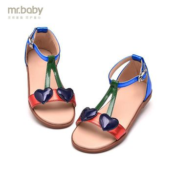 Mr.baby children shoes 2017 heart cherry child princess shoes female child cattle leather sandals