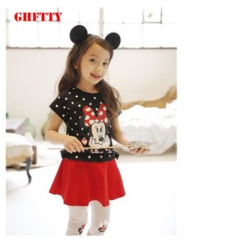 Girls Dresses 2018 New lovely girls minnie mouse shirt and dress clothes set kids summer children clothing set girl clothing