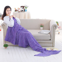 Yarn Knitted Fish Style Mermaid Tail Blanket Hot Sale Handmade Crochet Mermaid Blanket Throw Bed Wrap Super Soft Sleeping Bed